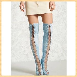 Forever21 Lace-Up Thigh High Denim Boots